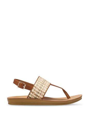 NOVENI 米褐色 Strappy Sandals 29D9FSH1D7ED23GS_1