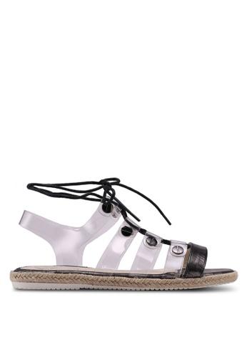 MISSGUIDED black Perspex Upper Flat Lace Up Sandals 91748SHB392CC2GS_1