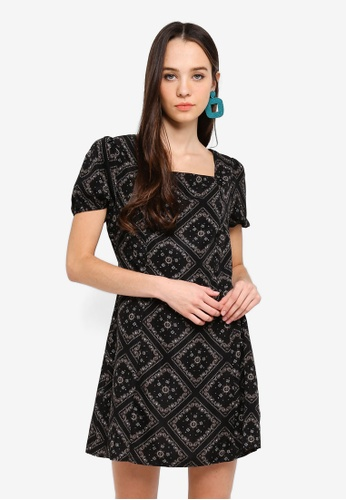 Something Borrowed black Square Neck Fit And Flare Dress 0812DAAE8FA093GS_1