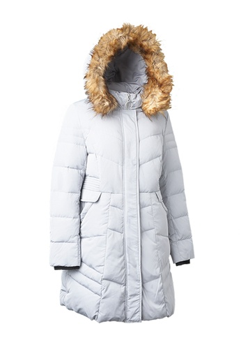 Universal Traveller blue MIXED STRIPS DOWN JACKET WITH FAUX FUR HOOD 9A819AA2311F7AGS_1