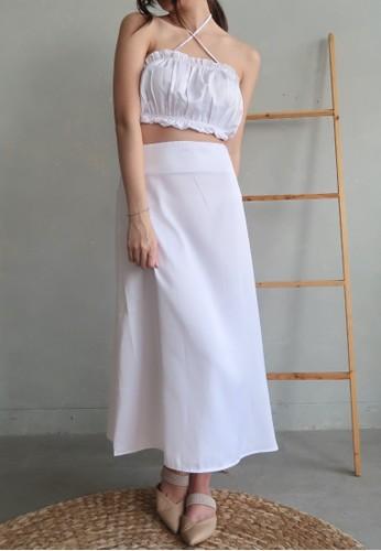 Boss Babe the Label white Anneliese Satin Midi A-Line Skirt 9FDDDAA86DE32BGS_1