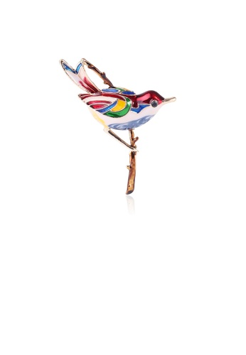 Glamorousky black Fashion and Lovely Plated Gold Red Bird Brooch with Cubic Zirconia D4BE0ACDC8E790GS_1
