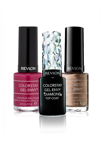 Revlon purple and gold REVLON COLORSTAY GEL ENVY™ LONGWEAR NAIL ENAMEL SET - Gel Diamond Top Coat™ + DOUBLE DOWN + BERRY TREASURE RE737BE25CXMSG_1