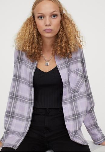 H&M purple Checkered Shirt 42F8EAA9B90AA6GS_1