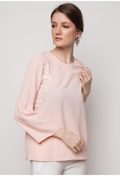 Round Neck With Lace Applique Blouse