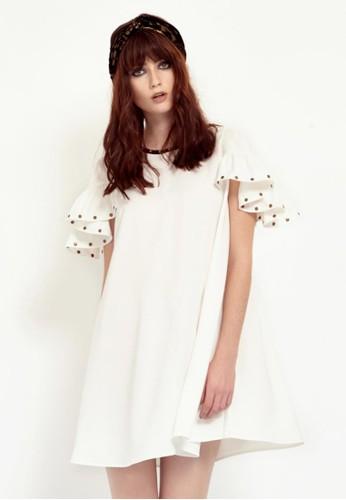 esprit outlet 桃園白色荷葉袖洋裝, 服飾, 短洋裝