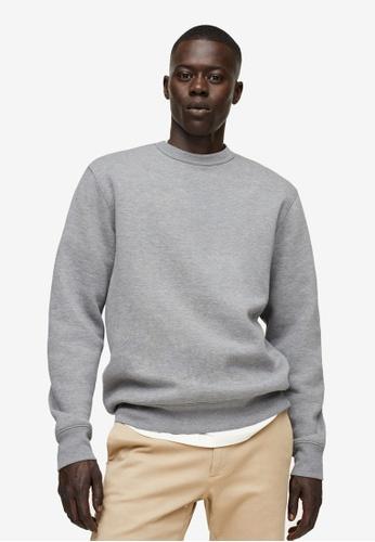 MANGO Man grey Plush Cotton Sweatshirt BDBFDAABFF38F7GS_1