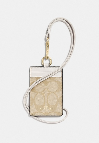 Coach red Coach ID Lanyard In Signature Canvas - Light Brown/White 289CEACEB1599FGS_1