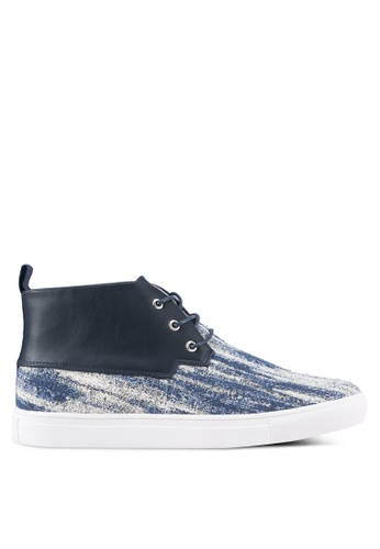 JAXON navy Mixed Materials Tweed High Top Sneakers F71ABSHF2B9360GS_1