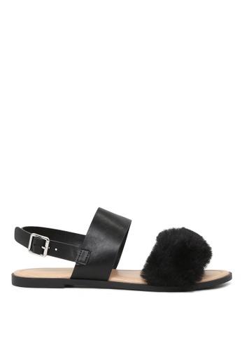 London Rag black London Rag Fanny Women's Black  Fur Double Strap Slingback Flat Sandals Sh1572 51EACSH9D2CA62GS_1