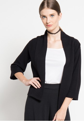 Noir Sur Blanc black Ladies Cardigan 3/4 Sleeve NO321AA02BBTID_1