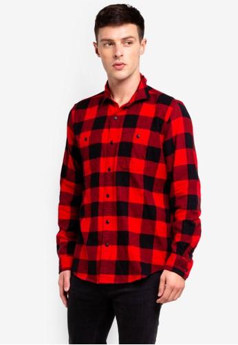 GAP red Midweight Flannel Shirt B049CAA6B20A3BGS_1