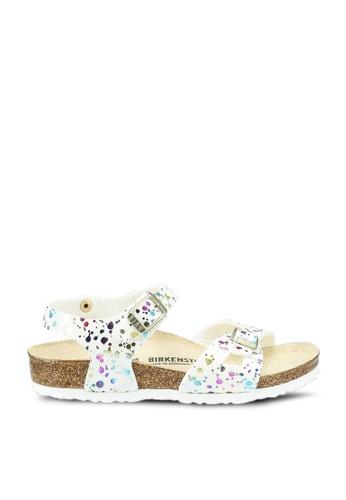 Birkenstock white Rio Kids MF Confetti Sandals C7E44KS06F9E2DGS_1