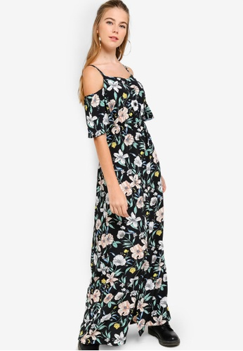 Something Borrowed black Cold Shoulder Buttoned Down Maxi Dress 1657BAA10433C8GS_1