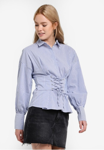 TOPSHOP blue Stripe Corset Shirt TO412AA61GXMMY_1