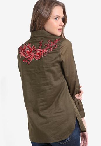 Geb. green Long Sleeve Embroidered Shirt GE945AA16LJRMY_1