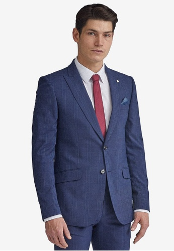 Burton Menswear London navy Navy Highlight Check Suit Jacket 7BB65AA2F6DA74GS_1