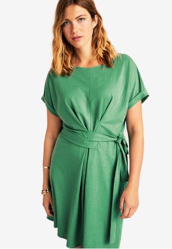 Violeta by MANGO green Plus Size Flowy Bow Dress 8BF3EAA7C0B130GS_1
