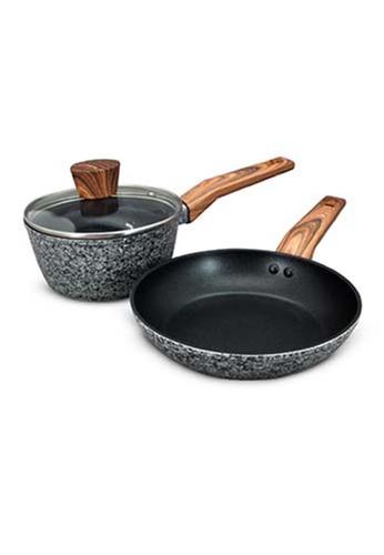 Slique grey Granite Cookware Set Premium Multi Layer Nonstick Coating Set of 3 D9578HL4F27D94GS_1