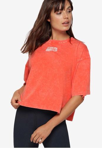 Lorna Jane orange Retro Classic Cropped Tee 569BCAA9CA111DGS_1