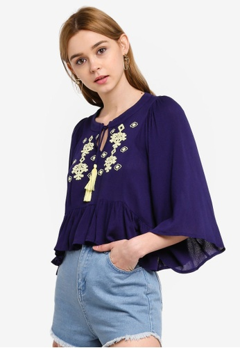 Something Borrowed 海軍藍色 Bell Sleeves Crop Top With Embroidery 656C1AA841E631GS_1