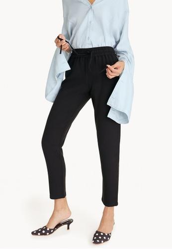 Pomelo black Drawstring Slim Fit Trousers - Black 87207AAE6BEB76GS_1