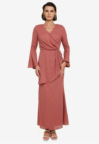 Zalia pink Drape Textured Dress 1825DAACFB0A07GS_1