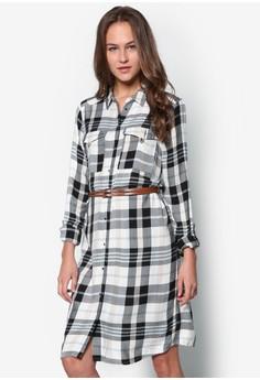 Check Belted Shirt Dress