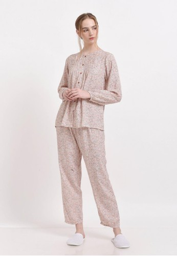 XAYANA Pyjama Set Bunga Minimalis Peach 40FFDAADD739A2GS_1