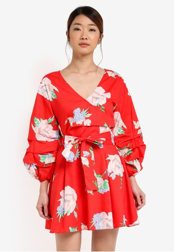 Miss Selfridge red Cny: Print Poplin Wrap Dress MI665AA0T08UMY_1