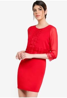 49e29ae6f4 Wallis red Petite Red Lace Trim Dress WA800AA75JWAMY 1