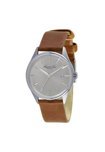Kenneth Cole brown Kenneth Cole Classic Silver/Tan Leather Watch KE854AC15NPGSG_1