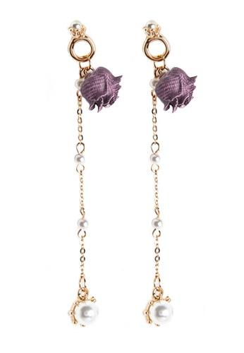 YOUNIQ purple YOUNIQ Basic Korean Little Pearl Rose Gold Lining Purple Long Earrings 8DE58AC9E295FDGS_1