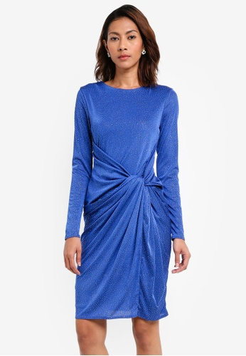 Goddiva blue Front Knot Glitter Midi Dress 04471AAC5DC63EGS_1