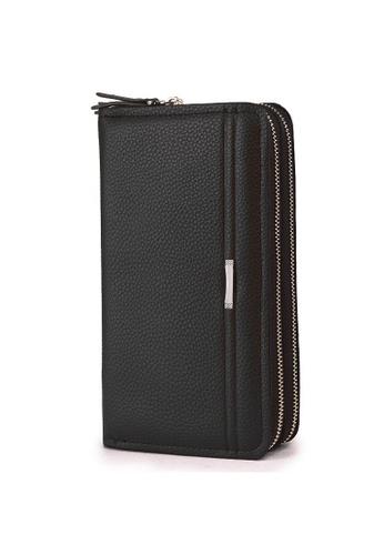 A FRENZ black Men's PU Leather Double Zip Clutch Long Wallet EEB3FACEB4C0DCGS_1