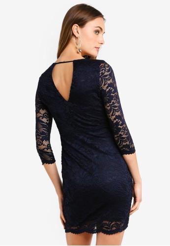 Vero Moda navy Sandra 3/4 Lace Dress B98BCAAE953309GS_1