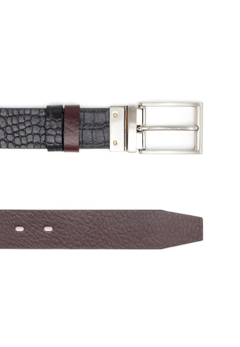 Life8 brown Formal & Casual Double-Sided Leather Belt-05268-Brown LI283AC0FUACSG_1