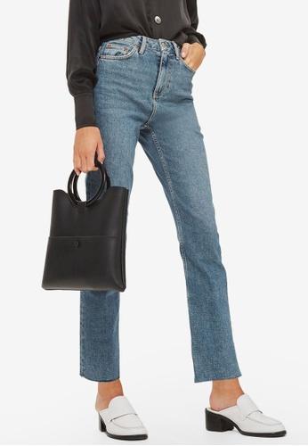 TOPSHOP blue MOTO Mid Blue Straight Leg Raw Hem Jeans TO412AA0RZEGMY_1