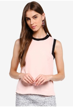 cfae702270e6 ZALORA pink Sleeveless Top With Contrast Trims 4578EAAF9D9A20GS_1