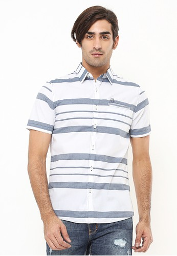 Johnwin white Slim Fit - Kemeja Casual Active - Motif Garis - Putih 35720AA77CC46BGS_1