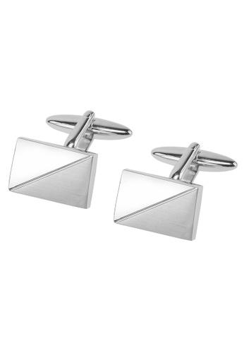 CUFF IT silver Shiny and Brushed Silver Diagonal Cufflinks CU047AC99AHCHK_1