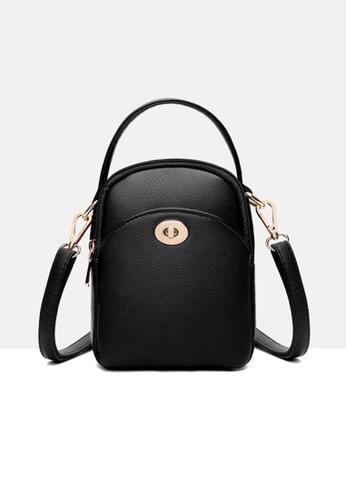 Lara black Women's Minimalist Plain Water-repellent Leather Zipper Small Cross-body Bag - Black F8449AC083DC8EGS_1