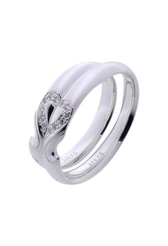 Joined by Love Silver Couple Ring with Artificial Diamonds lr0003