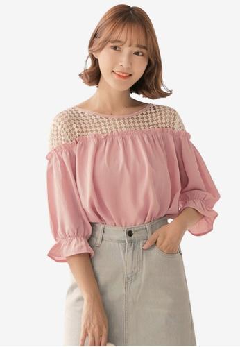90383a7a9b216 Tokichoi pink Lace Shoulder Blouse 82649AA3949BA7GS 1