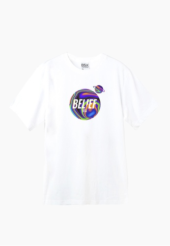 BSX white BSX Unisex's regular fit printed tee (Online exclusive) D7191AACF76A54GS_1