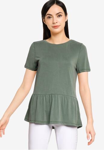 Vero Moda green Filli Short Sleeves Peplum Top 8B4E2AAAE5C08DGS_1