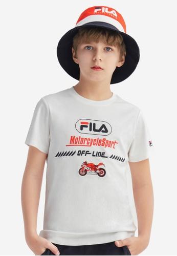 FILA white FILA KIDS FILA Logo Motorbike Print Cotton T-shirt 10-16yrs 2AC36KAB300D8EGS_1