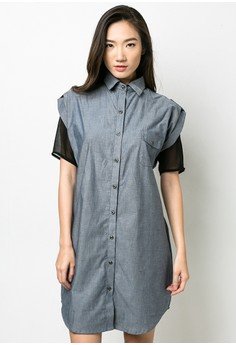 Chambray Polo Dress