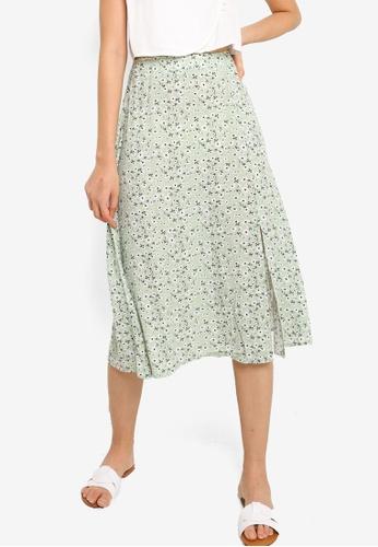 ZALORA BASICS green Front Slit Skirt BE41BAADE99B23GS_1