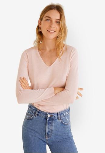 Mango pink V-Neck Sweater 4790AAA9CA241DGS_1
